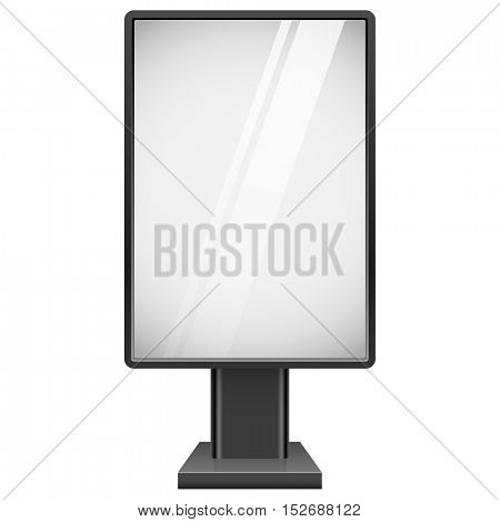 Blank street advertising board with black frame isolated on white background vector template.