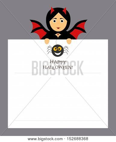 The girl bat vampire is holding a notepad sheet for the entries. Modern flat design. Spider, inscription happy Halloween.