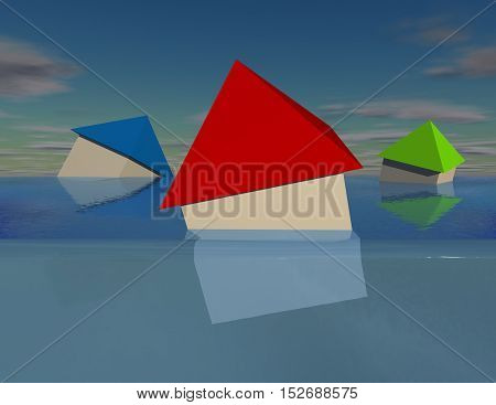 Simple 3D houses under water debt and flood concept 3D illustration.