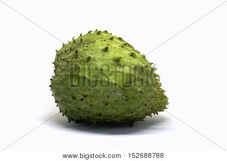 Soursup or soursop isolated on white background. Guyabano photo in lightbox. Unusual tropical fruit with green color and pine texture. Sweet tropical dessert. Sugar apple exotic fruit. Eatable pine