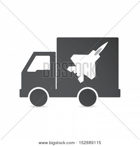 Isolated Delivery Truck With A Combat Plane