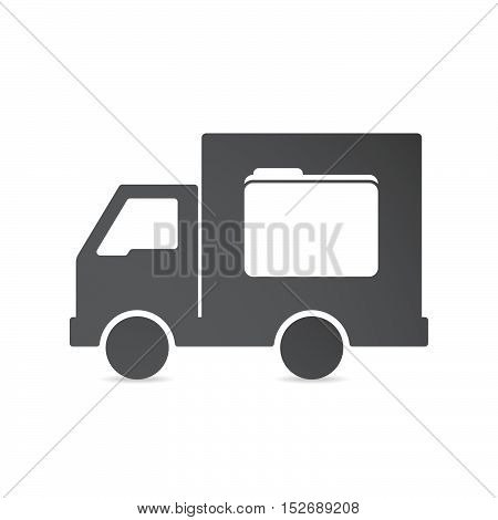 Isolated Delivery Truck With A Folder