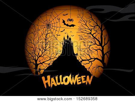Halloween poster with the image of a castle on the moon background