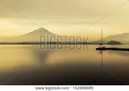 Mt. Fuji at Lake Kawaguchi during sunrise in Japan. Mt. Fuji is famous mountain in Japan.