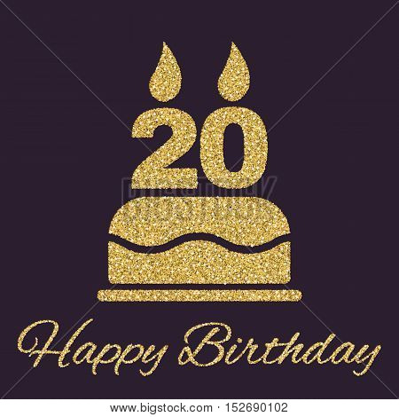 The birthday cake with candles in the form of number 20 icon. Birthday symbol. Gold sparkles and glitter Vector illustration