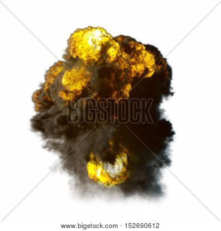 Explosion with fire and smoke isolated on white