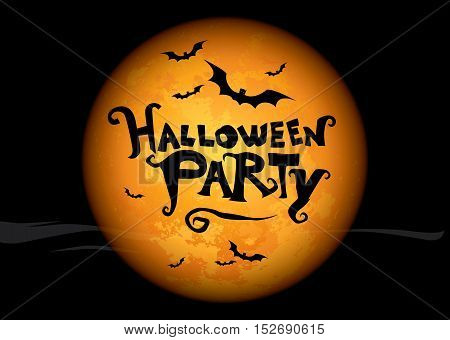 Halloween poster with the lettering over yellow moon. Halloween party
