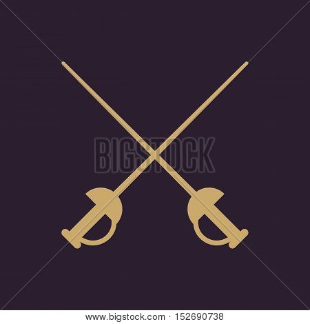 The sword icon. Epee symbol. Flat Vector illustration