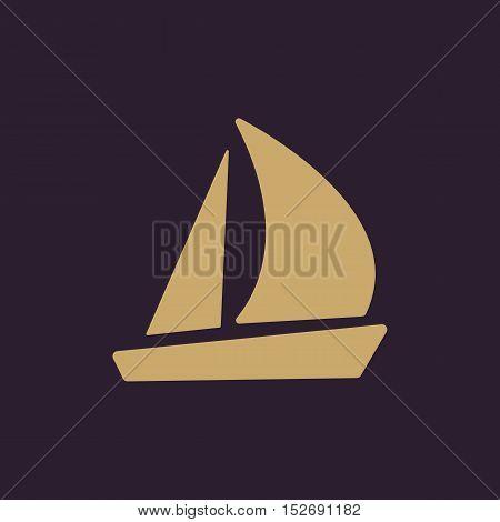 The sailboat icon. Sailing ship symbol. Flat Vector illustration