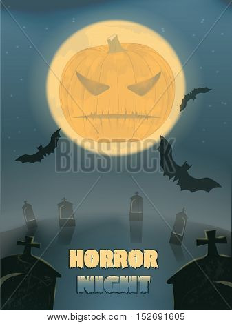 Halloween party.a graveyard covered with fog. bats on the moon. nightmare and two graves close-up. vector illustration. old poster. evil pumpkin. horror night