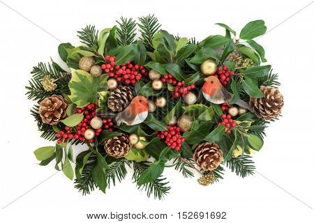 Christmas decoration with gold bauble and robin decorations, holly and red berries, ivy, gold pine cones and fir leaf sprigs over white background.