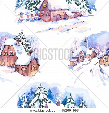 Winter countryside watercolor seamless background. Fairytale winter watercolor illustration. Vintage hand painted landscape card with old houses.