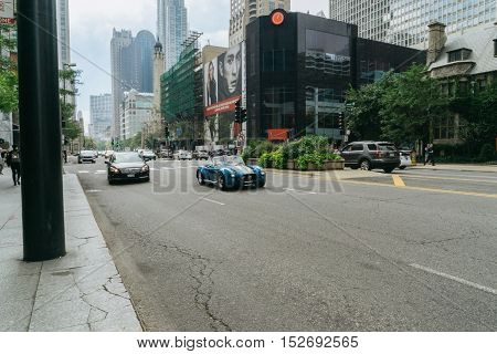 Chicago IL USA - September 25 2015: Shelby Cobra racing on the street of Chicago. This is one of the three cars created in the late 60s Carroll Shelby.