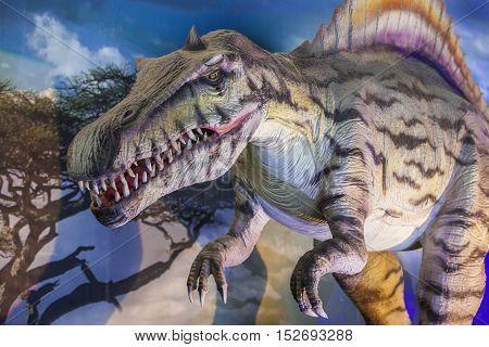 Badajoz. Spain - October 15 2016: Realistic model of dinosaur at Expojurasico Exhibition