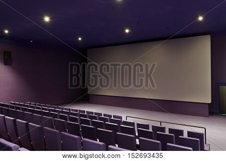 New Purple Movie Theater Seats And Screen