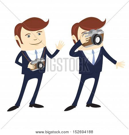 Vector illustration set of Funny Business man Happy photographer holding camera and taking pictures wearing suit