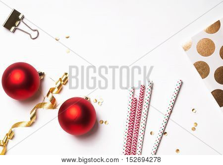 Christmas And New Year Decor On The White