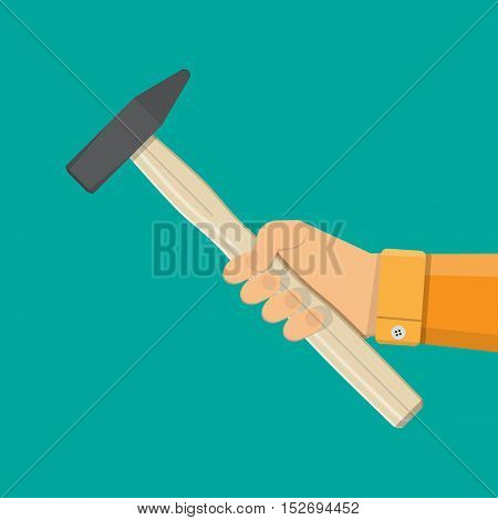 Carpenter hammer in hand. Hammer tool with wooden handle. vector illustration in flat style