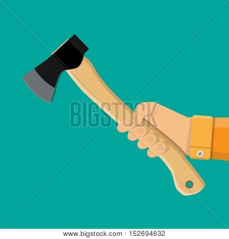 Axe, ax, hatchet with wooden handle in hand. vector illustration in flat style