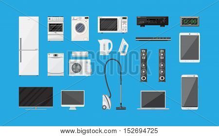 Household Appliances and Electronic Devices set on blue background. vector illustration in flat style