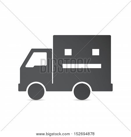 Isolated Delivery Truck With A Emotionless Text Face