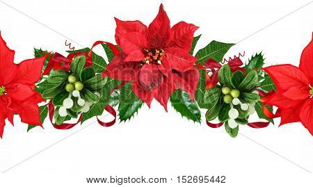 Horizontal floral border. Pattern seamless Christmas background. Christmas garland of poinsettia red green leaf decoration.