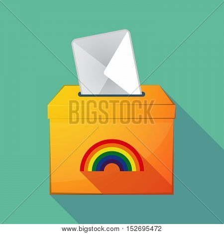 Long Shadow Ballot Box With A Rainbow