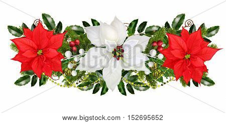 Christmas garland. Red white poinsettia berries ornaments glitter green leaves branches of spruce. Isolated on white background. New Year.