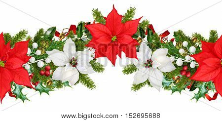 Christmas garland of red and white poinsettia green leaf decoration. Horizontal floral border. Pattern seamless Christmas background.