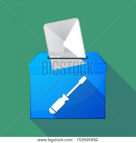 Long Shadow Ballot Box With A Screwdriver