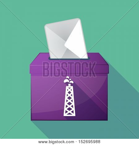 Long Shadow Ballot Box With An Oil Tower