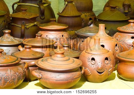 Pottery. Pots, Dishes, And Other Articles Made Of Earthenware Or Baked Clay. Pottery Can Be Broadly