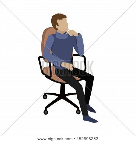 Man sitting on chair and dreaming about something or thinking about the problem solution. Boy at work. Endless work seven days a week. Working moments. Part of series of work at the office. Vector
