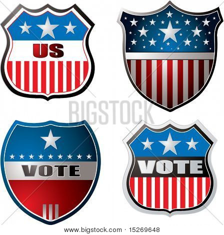 American inspired shields in red white and blue