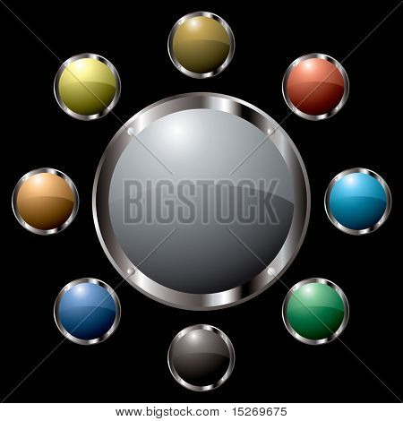 Button colourful collection all with metalic silver bevels