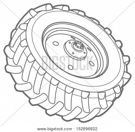 big tractor tire line icon. isolated on white background