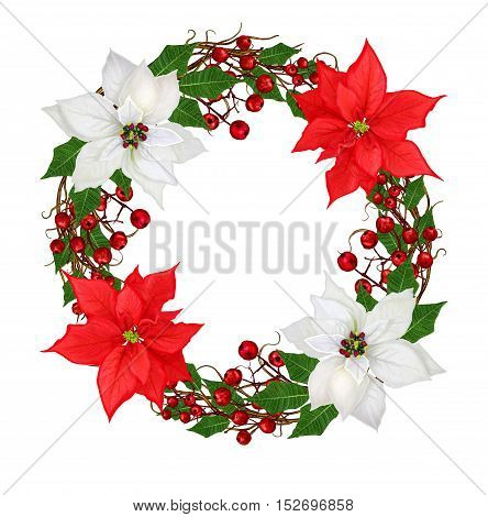 Christmas wreath flower garland. White poinsettia red berries green leaves woven from twigs. Isolated on white background.