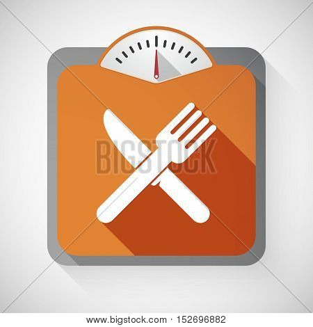 Isolated Long Shadow Body Weight Scale With A Knife And A Fork
