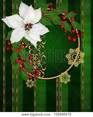 Vintage old style. Greeting Christmas card. White poinsettia red berries leaves on a dark green background in a gold strip. Shiny ornaments snowflakes.