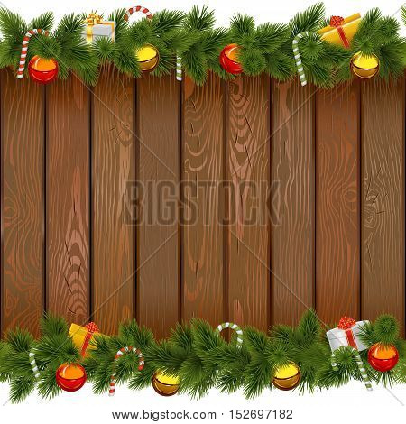 Vector Seamless Christmas Border with Lollipop on Wooden Board isolated on white background
