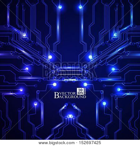 Circuit board vector blue background. Vector illustration