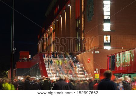 LIVERPOOL UK 17 th OCTOBER 2016 Crowds making their way into the stadium for a night match against Manchester United