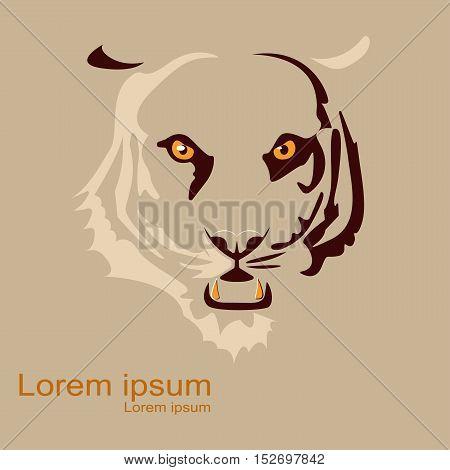 Decorative element of tiger's head. Vector design for print, label, poster, emblem, logo.