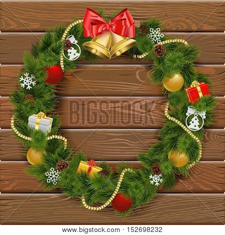 Vector Christmas Wreath on Wooden Board 2 with gifts snowflakes baubles and bell