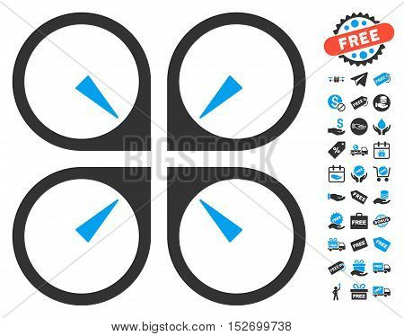 Hover Drone icon with free bonus images. Vector illustration style is flat iconic symbols blue and gray colors white background.