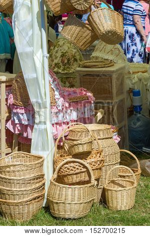 Baskets Woven From Willow Twigs. A Container Used To Hold Or Carry Things, Typically Made From Inter