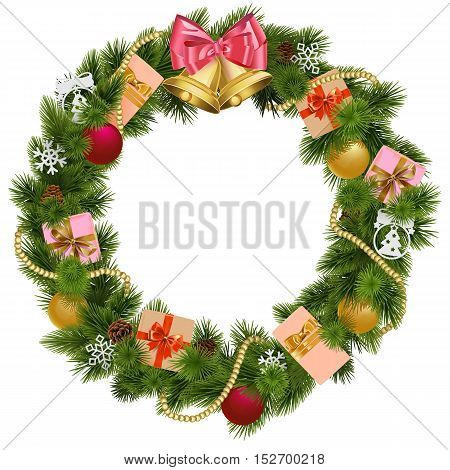 Vector Christmas Wreath with Christmas Bell isolated on white background