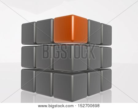 Orange and grey cubes as abstract background 3D illustration.