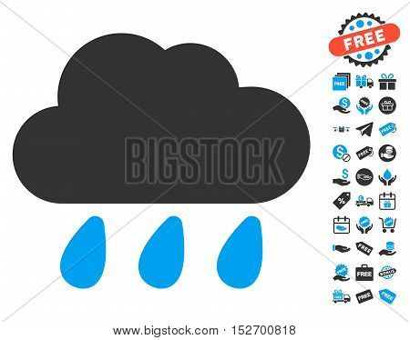 Rain Cloud pictograph with free bonus pictograph collection. Vector illustration style is flat iconic symbols blue and gray colors white background.