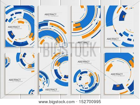 Stock vector set of brochures in abstract style. Design business templates with blue round, rectangular shapes on light gray background for printed material, element, web site, card, cover, wallpaper